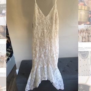 White lace Bardot fit and flare